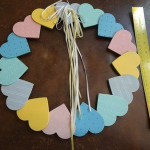 Bright Touches Wooden Painted Heart Wreath - Cute!
